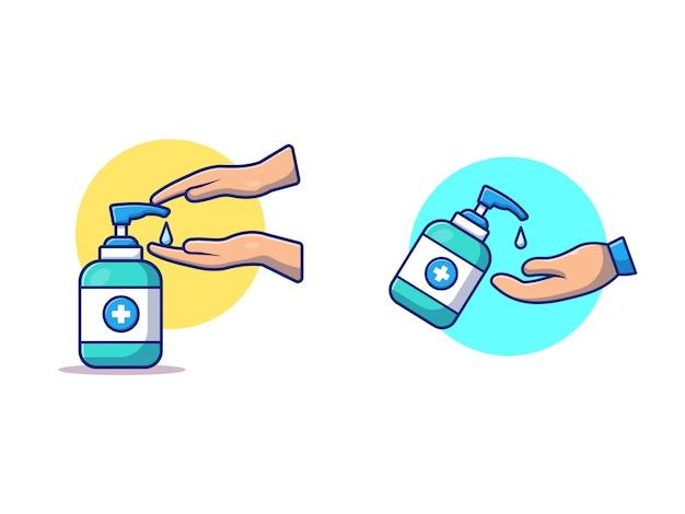 Lavaggio mano con illustrazione disinfettante. salute e medicina isolati