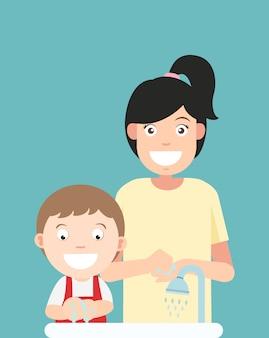 Lavarsi le mani illustrazione