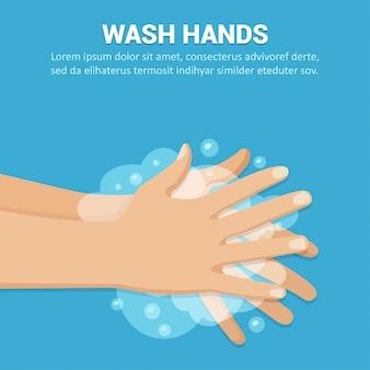 Lavarsi le mani con il concetto di sapone in un design piatto.