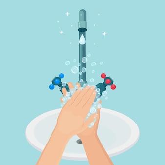 Lavarsi le mani con schiuma di sapone, bolle di gel. rubinetto dell'acqua, perdita dal rubinetto. igiene personale, routine quotidiana