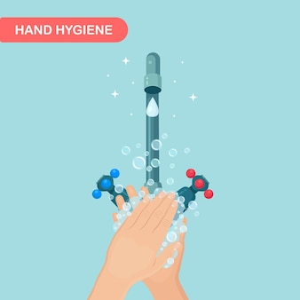 Lavarsi le mani con schiuma di sapone e bolle di gel