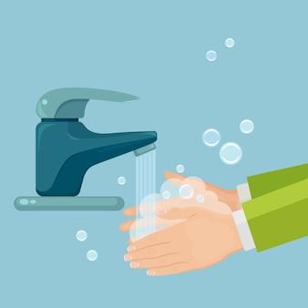 Lavarsi le mani con schiuma di sapone, scrub, bolle di gel. rubinetto dell'acqua, perdita dal rubinetto. igiene personale, concetto di routine quotidiana. corpo pulito