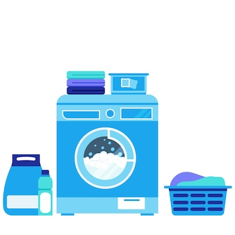 Lavatrice durante il lavaggio, polvere, liquido, polvere di capsule, cesto di biancheria sporca, pila di biancheria pulita, balsamo, candeggina isolato su sfondo bianco. illutration lavanderia vettoriale design piatto.