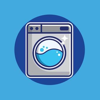 Icona della lavatrice. segno di servizio di lavanderia. pulisci vestiti in stile cartone animato
