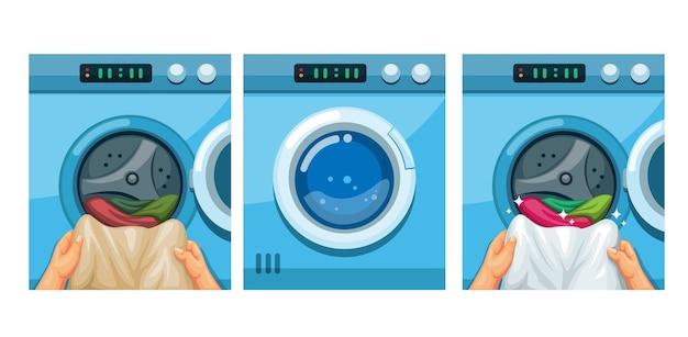 Insieme dell'illustrazione di istruzioni della lavatrice