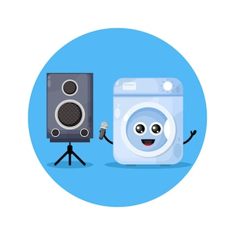 Lavatrice karaoke simpatico personaggio logo