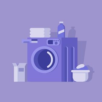 Lavatrice con cesto della biancheria detersivo su sfondo viola.