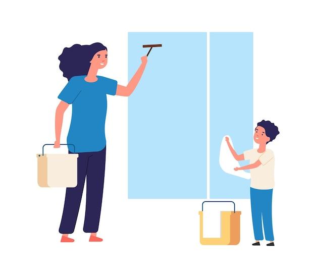 Lavare le finestre. pulizie di primavera, attrezzature pulite. figlio della madre vicino alla finestra con tessuto. fumetto degli addetti alle pulizie