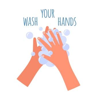 Lavarsi le mani banner in stile piatto. autoprotezione dal coronavirus. lavarsi le mani con sapone per prevenire virus e batteri, illustrazione ..