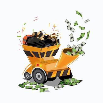 Rifiuti nella macchina cippatrice che trasforma denaro. soldi dagli sprechi. riciclare