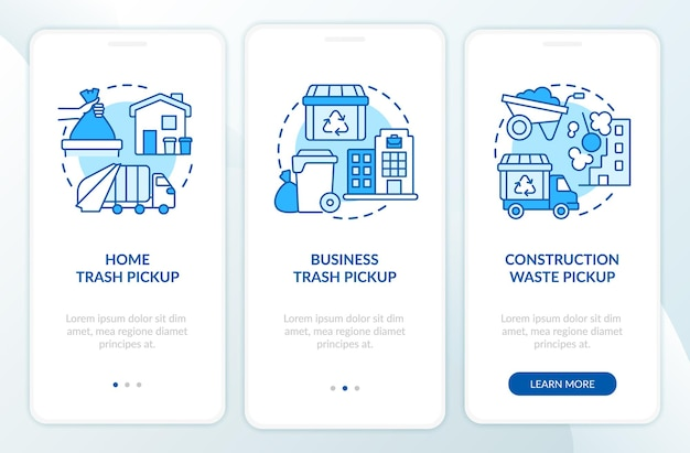 Schermata della pagina dell'app mobile onboarding per la raccolta e il ritiro dei rifiuti. procedura dettagliata per la gestione dei rifiuti 3 istruzioni grafiche con concetti. modello vettoriale ui, ux, gui con illustrazioni a colori lineari