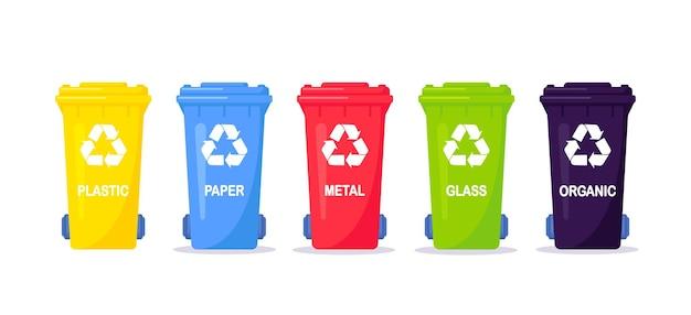 Raccolta, raccolta differenziata e riciclaggio dei rifiuti. rifiuti separati in diverse tipologie e raccolti in contenitori per rifiuti. ogni cestino per materiale diverso