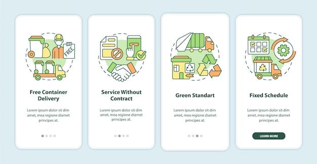 Il servizio di raccolta dei rifiuti offre la schermata della pagina dell'app mobile a bordo. procedura dettagliata di gestione dei rifiuti 4 passaggi istruzioni grafiche con concetti. modello vettoriale ui, ux, gui con illustrazioni a colori lineari