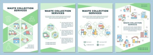 Modello dell'opuscolo dei servizi di raccolta dei rifiuti. gestione dei rifiuti. volantino, opuscolo, stampa di volantini, copertina con icone lineari. layout vettoriali per presentazioni, relazioni annuali, pagine pubblicitarie