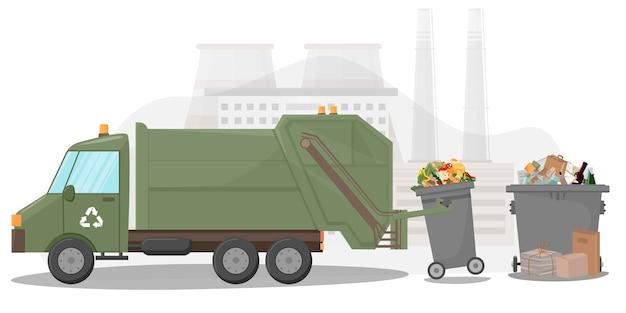 Raccolta e trasporto dei rifiuti veicolo di rimozione dei rifiuti contenitori di immondizia scatole e sacchetti riciclaggio dei rifiuti e impianto di smaltimento illustrazione in stile piatto