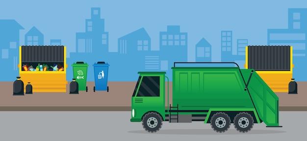 Camion dei rifiuti o della spazzatura e cassonetto, gestione in città, fondo urbano
