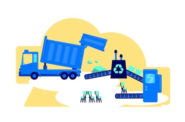 Illustrazione di concetto piatto di gestione dei rifiuti