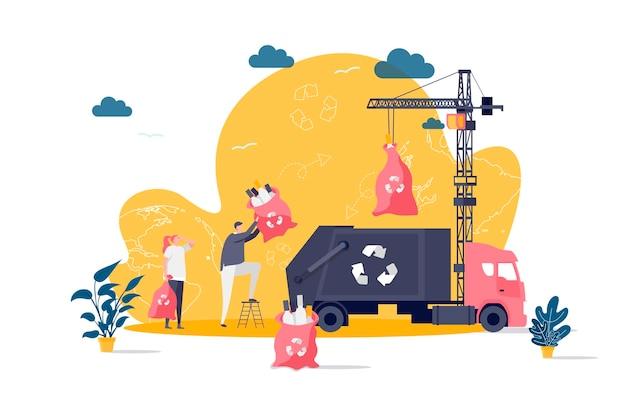 Concetto di piatto di gestione dei rifiuti con illustrazione di personaggi di persone