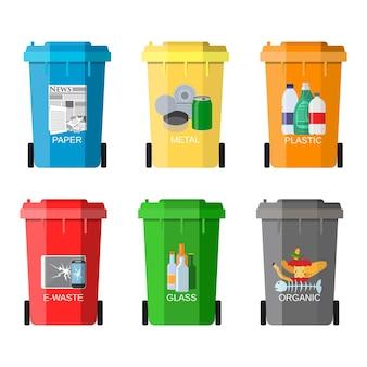 Illustrazione di gestione dei rifiuti. segregazione dei rifiuti. separazione dei rifiuti sui bidoni della spazzatura