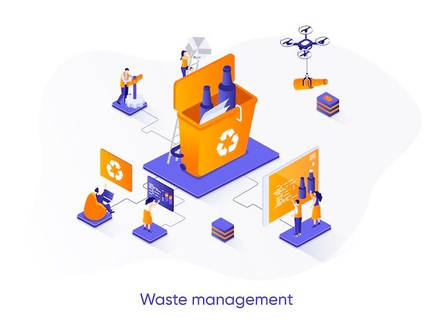 Illustrazione isometrica di gestione dei rifiuti con personaggi di persone