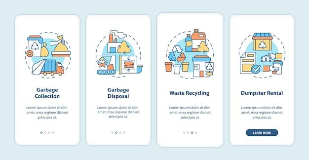 Schermata della pagina dell'app mobile onboarding del servizio di gestione dei rifiuti. procedura dettagliata per la raccolta dei rifiuti istruzioni grafiche in 4 passaggi con concetti. modello vettoriale ui, ux, gui con illustrazioni a colori lineari