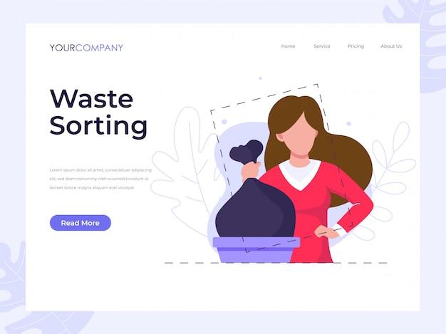 Pagina di destinazione dell'ordinamento dei rifiuti Vettore Premium