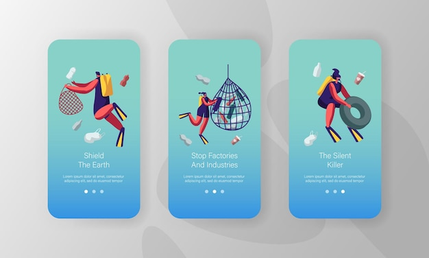Rifiuti che galleggiano nell'acqua dell'oceano. set di schermate integrate per la pagina dell'app mobile di protezione ecologica