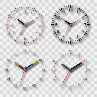 Quadrante dell'orologio su uno sfondo trasparente con un'ombra. set di quattro elementi. illustrazione vettoriale