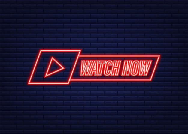 Guarda in diretta badge, icona, timbro, logo. icona al neon. illustrazione vettoriale.