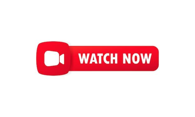 Pulsante guarda ora. pulsante per sito web, interfaccia utente, lettore multimediale, banner e modello di app. vettore su sfondo bianco isolato. env 10.