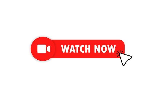 Guarda ora l'icona del pulsante di riproduzione video. vettore