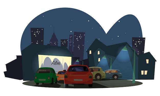 Guardare l'illustrazione all'aperto di film, guidare nel cinema sullo sfondo della città moderna.