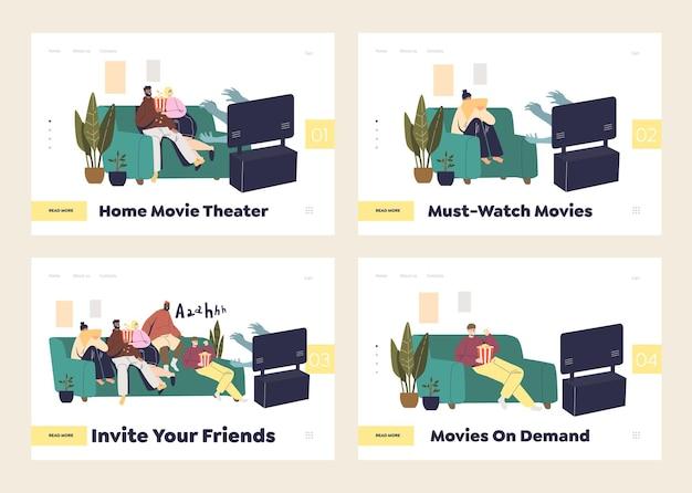 Guardare film a casa concetto di set di pagine di destinazione