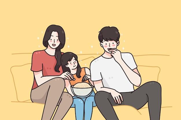Guardare film trascorrendo del tempo con il concetto di famiglia