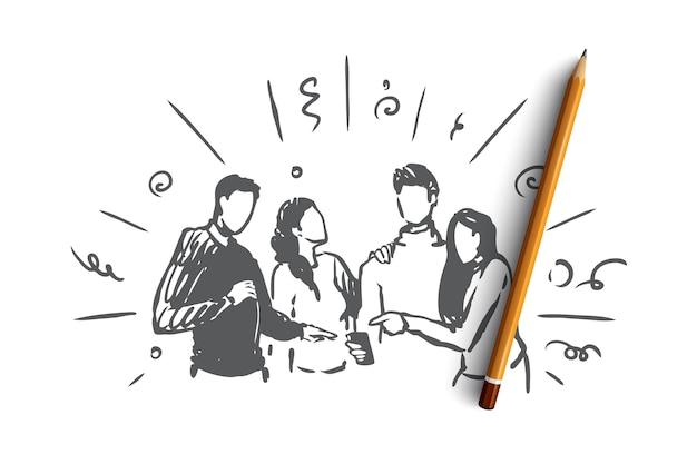 Guardando in linea insieme il concetto. gruppo di amici che esaminano insieme lo schermo del telefono. illustrazione di schizzo disegnato a mano