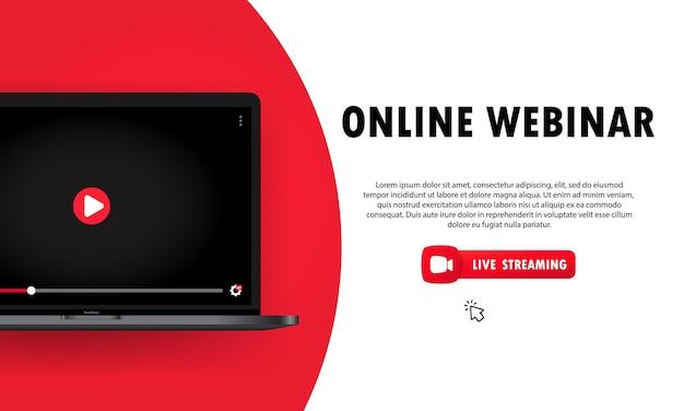 Guardando webinar online sull'illustrazione del laptop e lezioni online, conferenza, seminario, formazione, corso.