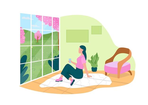 Guardare i fiori primaverili attraverso la finestra di casa banner web 2d, poster