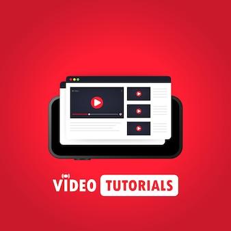 Guardare video su smart phone illustrazione o educazione a distanza