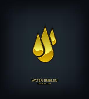 Logo dell'emblema del modello astratto dell'acqua, ecologia, idea universale di tecnologia aziendale