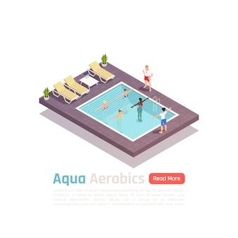 Composizione isometrica di esercizio di fitness in acquagym con lezione di allenamento in acqua nel banner della piscina all'aperto del resort resort