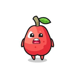 Illustrazione di mela d'acqua con espressione di scuse, dicendo mi dispiace, design in stile carino per t-shirt, adesivo, elemento logo