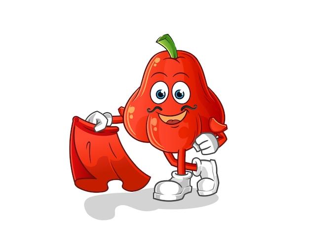 Matador mela acqua con panno rosso isolato su bianco