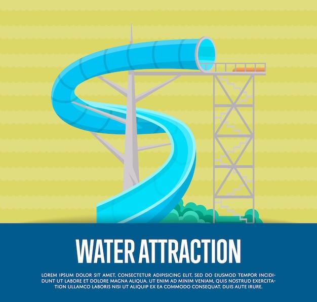 Poster di attrazione dell'acqua con scivolo d'acqua