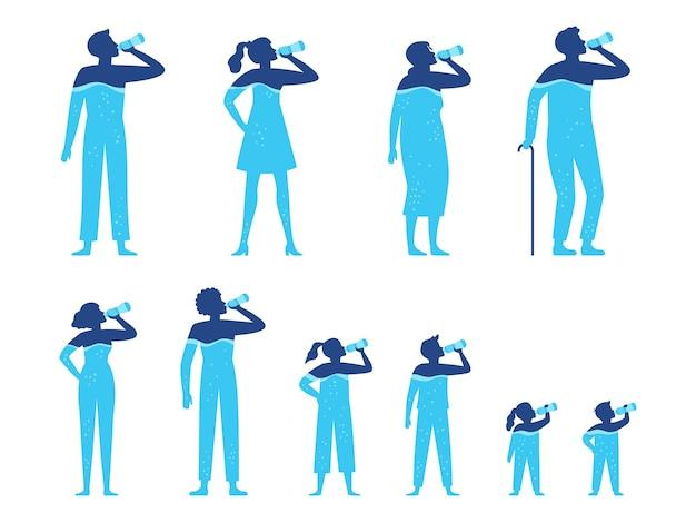 Bilancio idrico. le persone bevono acqua dalla bottiglia, acqua potabile per bambini e set di illustrazione di idratazione del corpo umano sano.