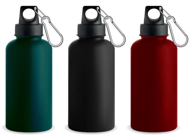 Bottiglia d'acqua. thermos in metallo in acciaio inossidabile.