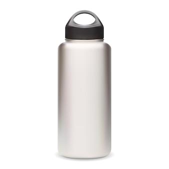 Bottiglia d'acqua. modello di bottiglia termica. vuoto riutilizzabile di vettore della bottiglia di sport. fiaschetta fitness argento con design 3d cappuccio nero. lattina da campeggio realistica in acciaio inossidabile, prodotto per attrezzatura da esterno
