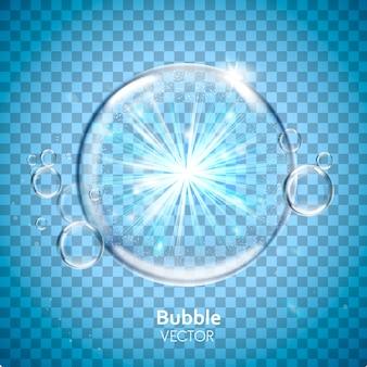 Elementi a bolle d'acqua con luce splendente, sfondo trasparente, illustrazione