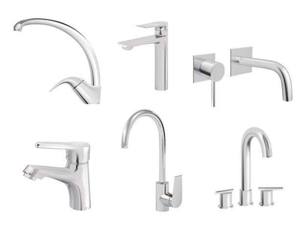 Rubinetto acqua cromato. gli accessori idraulici degli utensili da cucina vector le immagini realistiche della raccolta del rubinetto dell'acqua. rubinetto del rubinetto, attrezzatura della valvola, illustrazione dell'impianto idraulico del commutatore