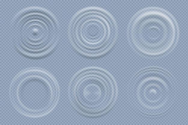 Cerchi d'acqua. forme rotonde realistiche del modello di vettore delle onde di vista superiore dei liquidi. illustrazione dell'onda dell'anello di superficie dell'ondulazione dell'effetto liquido