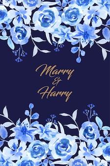 Fiore blu di colore dell'acqua sulla carta di nozze superiore e inferiore.